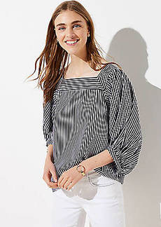 LOFT Striped Square Neck Blouse