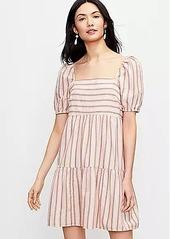 LOFT Striped Square Neck Puff Sleeve Dress