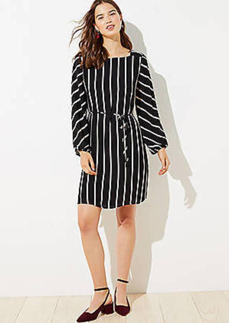 LOFT Striped Square Neck Tie Waist Dress