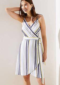LOFT Striped Strappy Wrap Dress