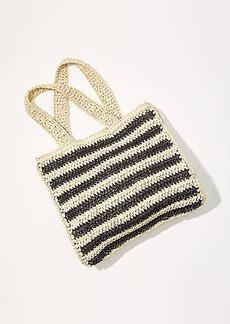 LOFT Striped Straw Tote Bag