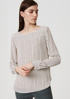 LOFT Striped Tab Sleeve Blouse