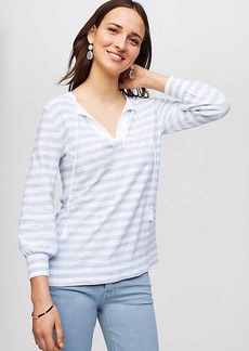 LOFT Striped Tasseled Tie Cuff Sweater Tunic