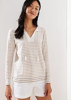 LOFT Striped Tasseled Tie Neck Sweater
