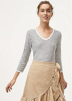 LOFT Striped Textured Shirttail Sweater
