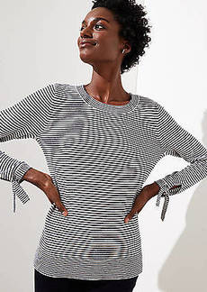 LOFT Striped Tie Cuff Sweater