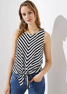 LOFT Striped Tie Hem Button Back Top