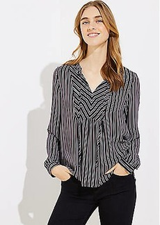 LOFT Striped Tie Neck Blouson Top