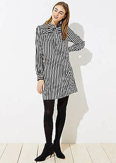 LOFT Striped Tie Neck Dress