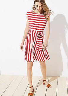 LOFT Striped Tie Waist Flare Dress
