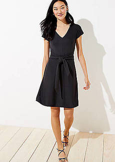 LOFT Striped Tie Waist Flare Pocket Dress