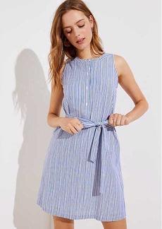 LOFT Striped Tie Waist Henley Dress