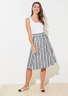LOFT Striped Tie Waist Midi Skirt