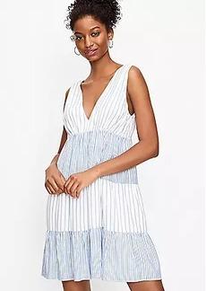 LOFT Striped Tiered Double V Swing Dress