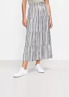 LOFT Striped Tiered Pull On Maxi Skirt