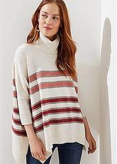 LOFT Striped Turtleneck Poncho Sweater