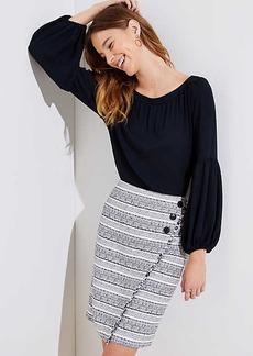 LOFT Striped Tweed Button Wrap Skirt