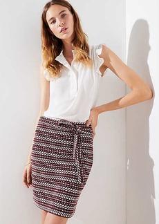 LOFT Striped Tweed Tie Waist Skirt