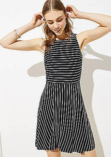 LOFT Striped Twist Back Flare Dress