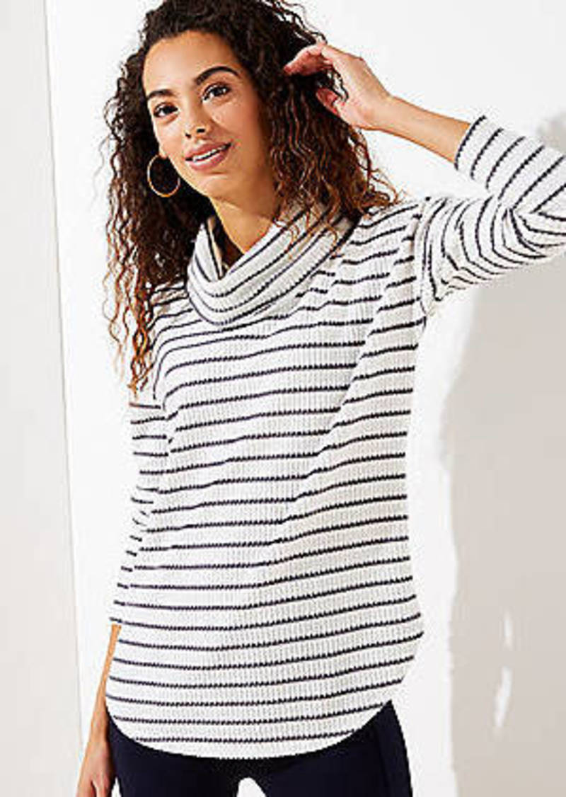 LOFT Striped Waffle Cowl Neck Top