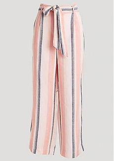 LOFT Striped Wide Leg Crop Paper Bag Pants