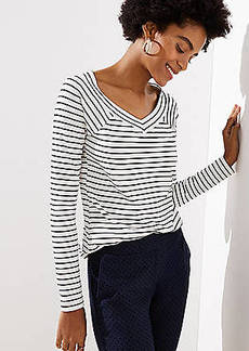 LOFT Striped Wide V-Neck Long Sleeve Tee