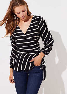 LOFT Striped Wrap Blouse