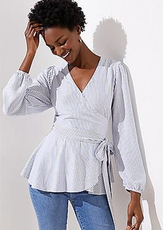 LOFT Striped Wrap Top