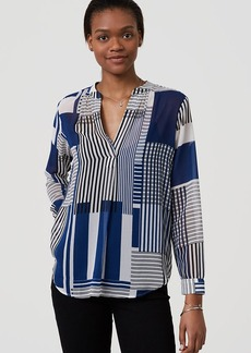 LOFT Stripeout Split Neck Blouse