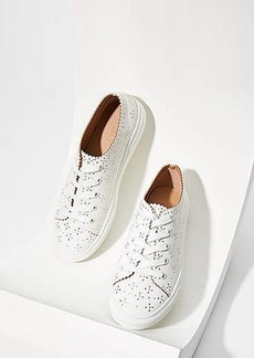 LOFT Studded Scalloped Lace Up Sneakers