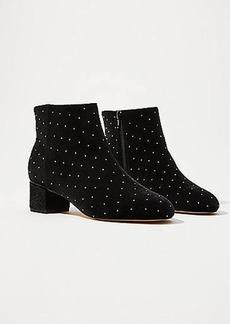 LOFT Studded Velvet Block Heel Ankle Boots