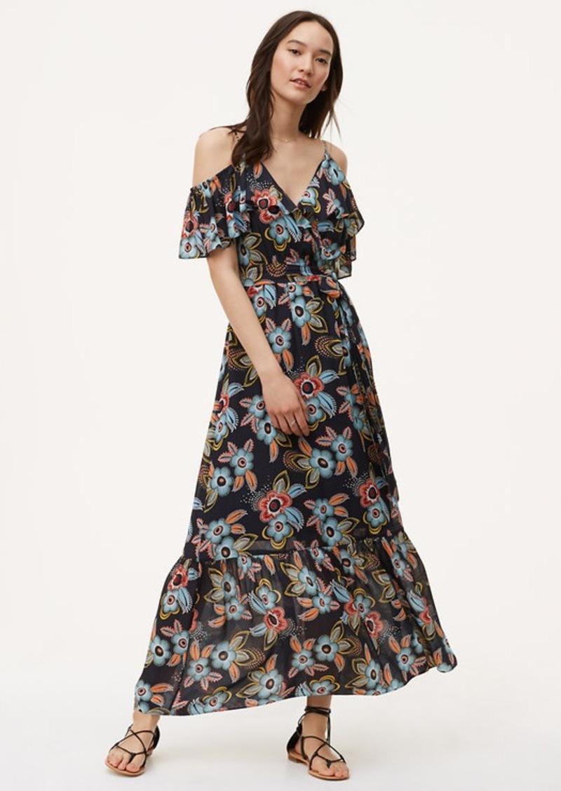 6627a5b3816e LOFT Summer Floral Cold Shoulder Maxi Dress