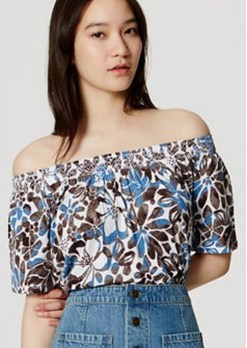 LOFT Sunwashed Floral Vintage Soft Off the Shoulder Tee
