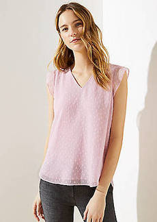 LOFT Swiss Dot V-Neck Flutter Shell