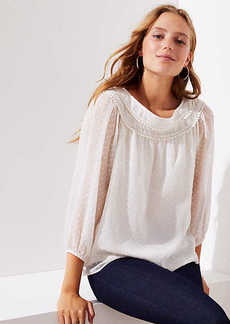 LOFT Pom Pom Swiss Dot Blouse
