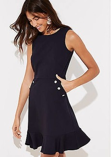 LOFT Tall Button Pocket Flounce Dress