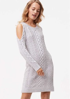LOFT Tall Cable Cold Shoulder Sweater Dress