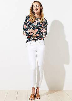 LOFT Tall Chewed Hem Slim Pocket Skinny Crop Jeans in White