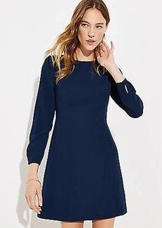LOFT Tall Covered Button Cuff Flare Dress