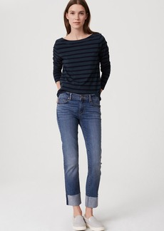 Tall Curvy Frayed Cuff Straight Leg Jeans in Classic Dark Indigo Wash