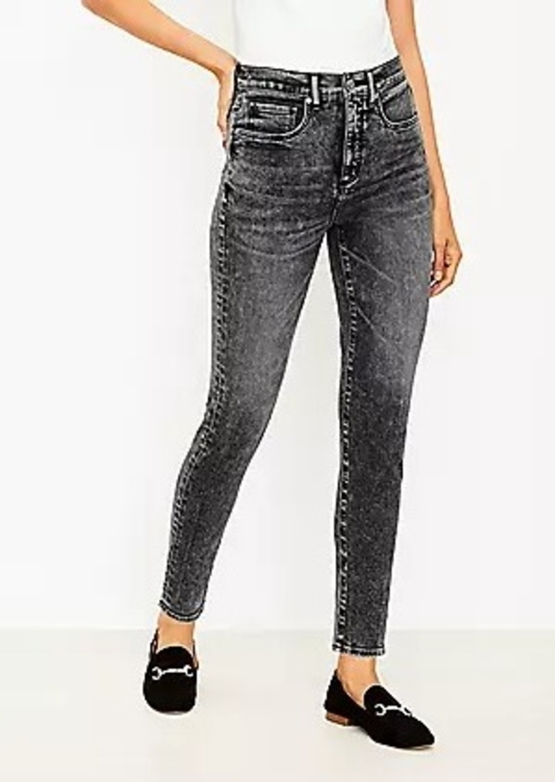 LOFT Tall Curvy High Rise Skinny Jeans in Washed Black Wash