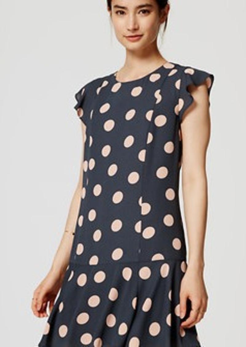 LOFT Tall Dot Flounce Dress