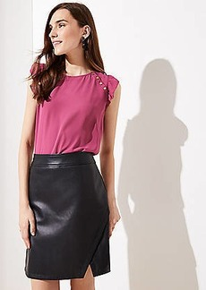 LOFT Tall Faux Leather Wrap Skirt