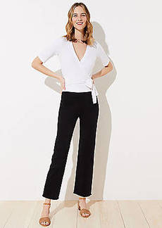LOFT Tall Frayed High Waist Flare Crop Pants