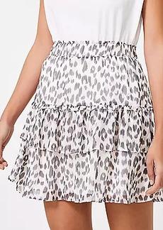 LOFT Tall Leopard Print Tiered Ruffle Skirt