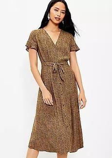 LOFT Tall Leopard Print V-Neck Midi Shirtdress