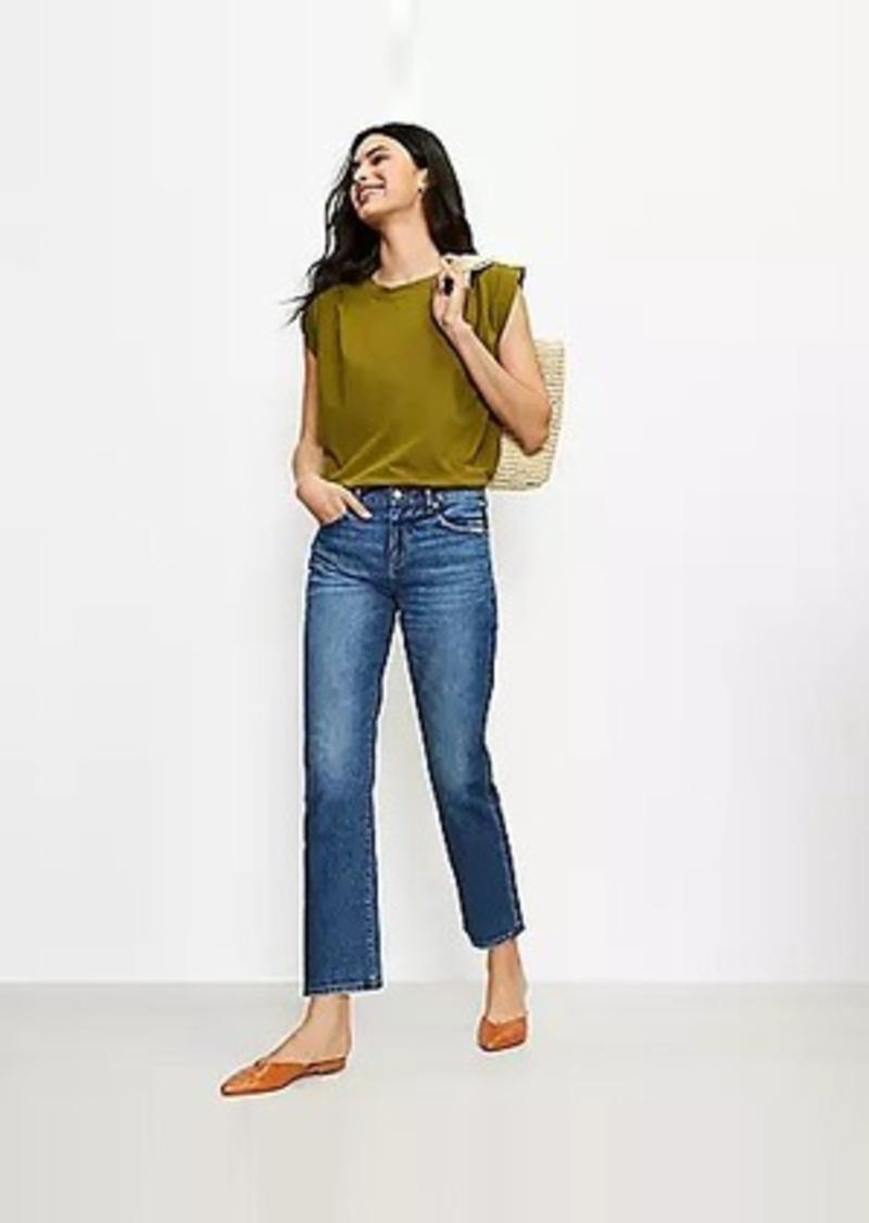 LOFT Tall Mid Rise Straight Crop Jeans in Staple Mid Indigo Wash