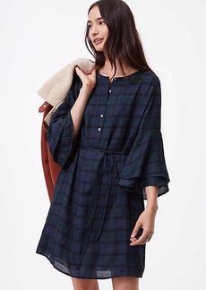 LOFT Tall Plaid Bell Sleeve Shirtdress