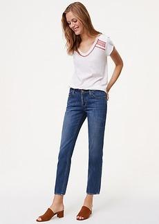 LOFT Tall Unpicked Boyfriend Jeans in Staple Mid Indigo Wash