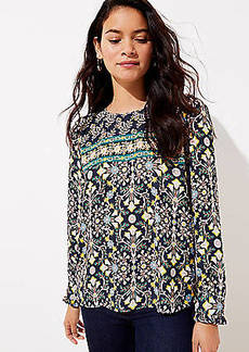 LOFT Tapestry Pleated Cuff Blouse